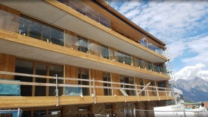 Glass balconies being added in Haus B