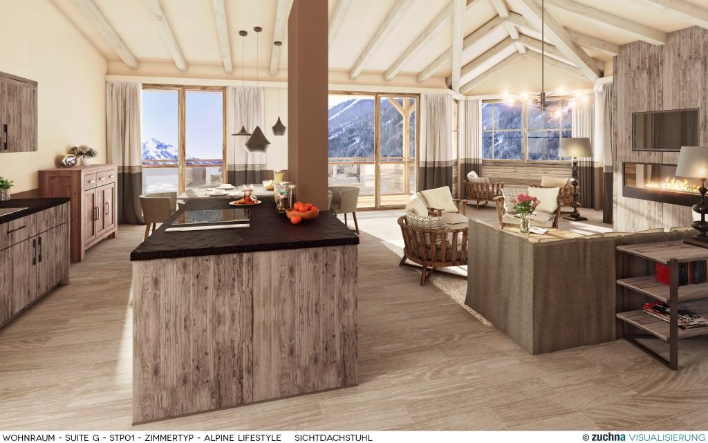 Copy of Hotel Schweizerhof_Wohnraum_Suite G_STP01_Zimmertyp - Alpine Lifestyle_Sichtdachstuhl_Korrektur01